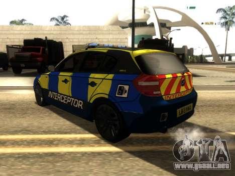 BMW 120i SE UK Police ANPR Interceptor para GTA San Andreas vista posterior izquierda