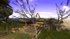 La construcción del puente, y el denso bosque