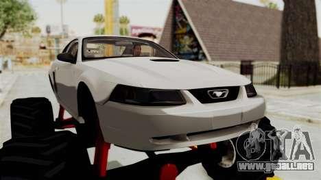Ford Mustang 1999 Monster Truck para GTA San Andreas vista hacia atrás