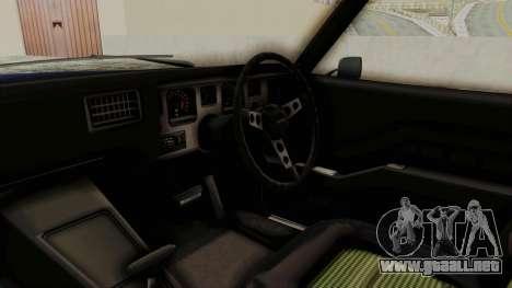 Holden Monaro GTS 1971 AU Plate IVF para visión interna GTA San Andreas