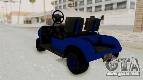 GTA 5 Gambler Caddy Golf Cart IVF para GTA San Andreas vista posterior izquierda
