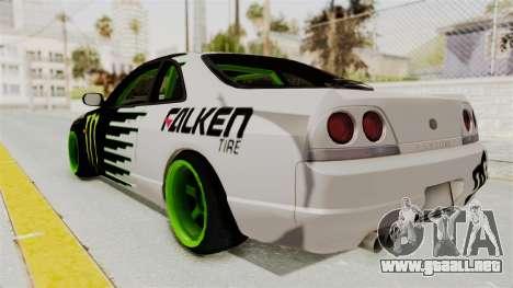 Nissan Skyline R33 Drift Monster Energy Falken para GTA San Andreas left