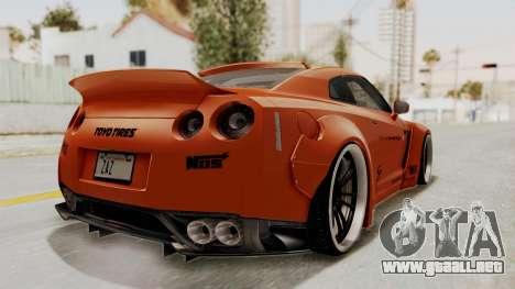 Nissan GT-R R35 Liberty Walk LB Performance para GTA San Andreas vista posterior izquierda