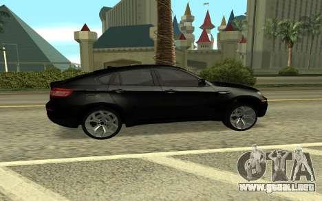 BMW X6M para GTA San Andreas vista posterior izquierda