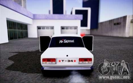 VAZ 2107 FIV para GTA San Andreas vista hacia atrás