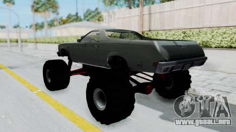 Chevrolet El Camino 1973 Monster Truck para GTA San Andreas vista posterior izquierda