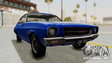 Holden Monaro GTS 1971 AU Plate IVF para la visión correcta GTA San Andreas