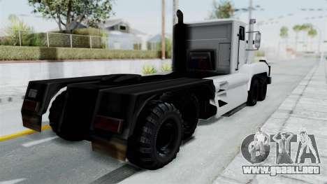 Roadtrain 8x8 v1 para GTA San Andreas vista posterior izquierda