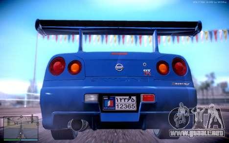 Nissan Skyline GT-R R34 para GTA San Andreas vista posterior izquierda
