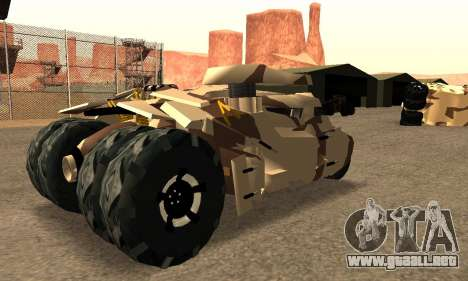 Army Tumbler Gun Tower from TDKR para GTA San Andreas vista posterior izquierda