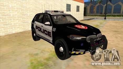 2014 BMW X5 F15 Police para GTA San Andreas vista hacia atrás