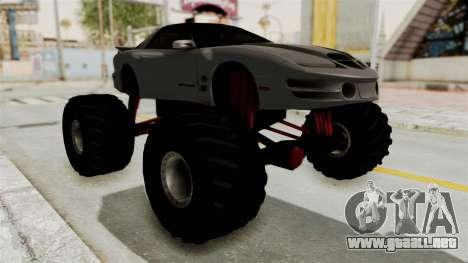 Pontiac Firebird Trans Am 2002 Monster Truck para la visión correcta GTA San Andreas