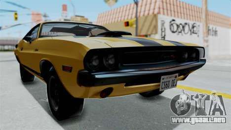 Dodge Challenger RT 440 1970 Six Pack para la visión correcta GTA San Andreas