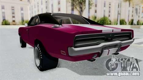 Dodge Charger 1969 Drag para GTA San Andreas vista posterior izquierda