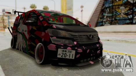 Toyota Vellfire Hatsune Miku Senbonzakura Itasha para la visión correcta GTA San Andreas