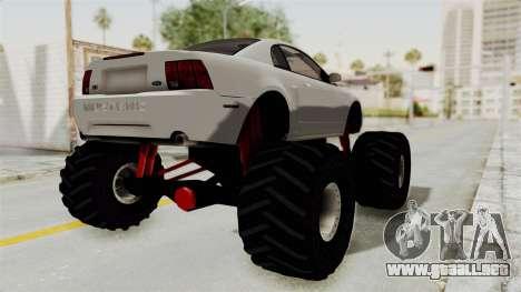 Ford Mustang 1999 Monster Truck para GTA San Andreas vista posterior izquierda