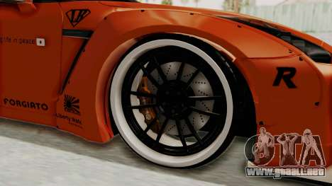 Nissan GT-R R35 Liberty Walk LB Performance para GTA San Andreas vista hacia atrás