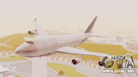 Boeing 747-400 United Airlines para GTA San Andreas vista posterior izquierda