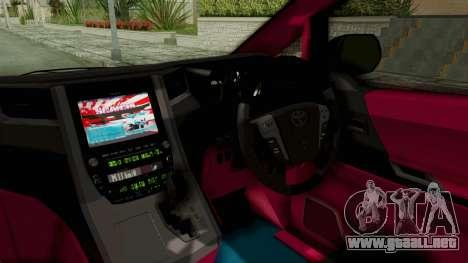 Toyota Vellfire Hatsune Miku Senbonzakura Itasha para visión interna GTA San Andreas