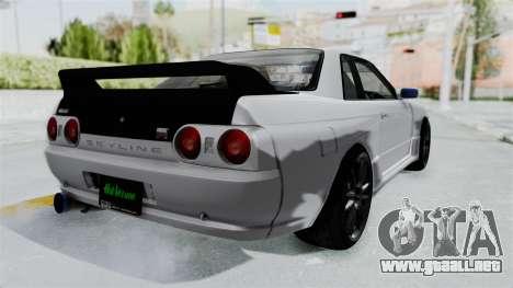 Nissan Skyline BNR32 Hot Version para GTA San Andreas vista posterior izquierda