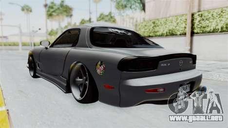 Mazda RX-7 FD3S HellaFlush para GTA San Andreas vista posterior izquierda