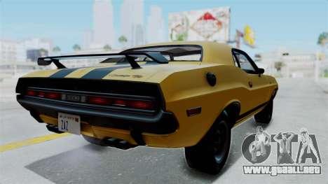 Dodge Challenger RT 440 1970 Six Pack para GTA San Andreas vista posterior izquierda