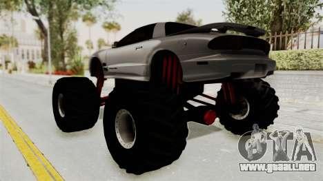 Pontiac Firebird Trans Am 2002 Monster Truck para GTA San Andreas left