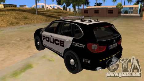 2014 BMW X5 F15 Police para GTA San Andreas vista posterior izquierda