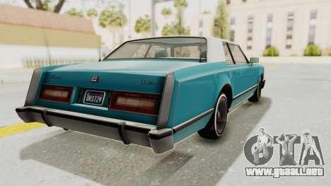 GTA 5 Dundreary Virgo Classic Custom v3 para GTA San Andreas vista posterior izquierda