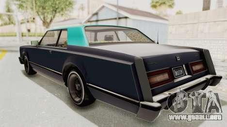 GTA 5 Dundreary Virgo Classic Custom v2 IVF para GTA San Andreas vista posterior izquierda