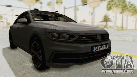 Volkswagen Passat B8 2016 RLine HQLM para la visión correcta GTA San Andreas
