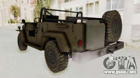 MGSV Jeep No LMG para GTA San Andreas vista posterior izquierda
