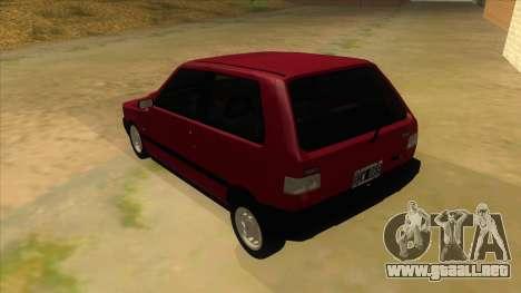 Fiat Uno S para GTA San Andreas vista posterior izquierda