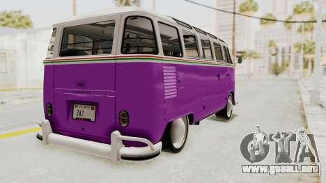Volkswagen T1 Station Wagon De Luxe Type2 1963 para GTA San Andreas vista posterior izquierda