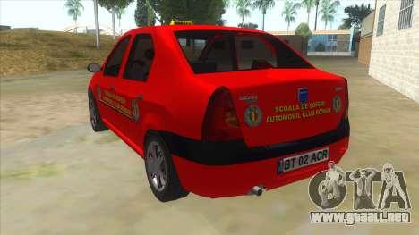 Dacia Logan Scoala para GTA San Andreas vista posterior izquierda