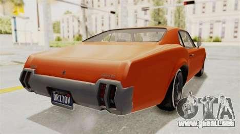 GTA 5 Declasse Sabre GT2 B para GTA San Andreas vista posterior izquierda
