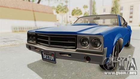 GTA 5 Declasse Sabre GT2 A para GTA San Andreas vista posterior izquierda