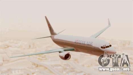 Boeing 737-800 Korean Air para GTA San Andreas vista posterior izquierda