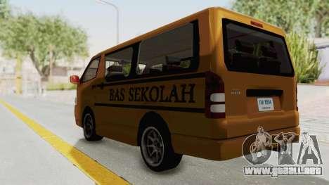 Toyota Hiace School Bus para GTA San Andreas vista posterior izquierda