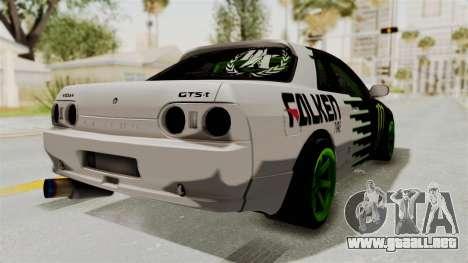 Nissan Skyline R32 Drift Monster Energy Falken para GTA San Andreas vista posterior izquierda