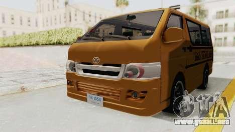 Toyota Hiace School Bus para la visión correcta GTA San Andreas