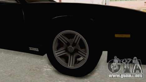 Chevrolet Camaro Z28 Iroc-Z Targa 1991 para GTA San Andreas vista hacia atrás