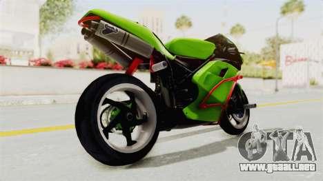 Ducati 998R Modif Stunt para GTA San Andreas vista posterior izquierda
