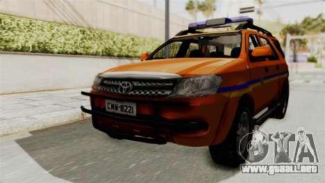 Toyota Fortuner JPJ Orange para GTA San Andreas vista posterior izquierda