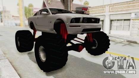Ford Mustang 2005 Monster Truck para la visión correcta GTA San Andreas