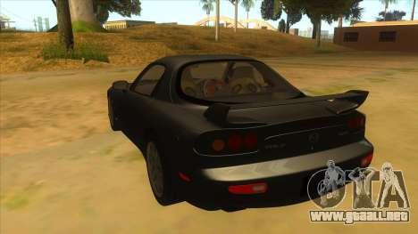 Mazda RX7 S Spirit R para GTA San Andreas vista posterior izquierda