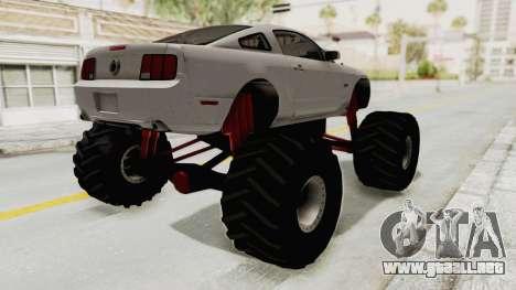 Ford Mustang 2005 Monster Truck para GTA San Andreas vista posterior izquierda