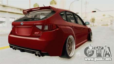 Subaru Impreza WRX STI para GTA San Andreas vista posterior izquierda