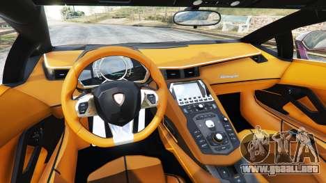 GTA 5 Lamborghini Aventador v1.1 vista lateral trasera derecha