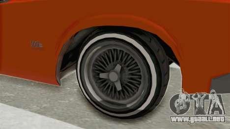 GTA 5 Declasse Sabre GT2 B para GTA San Andreas vista hacia atrás